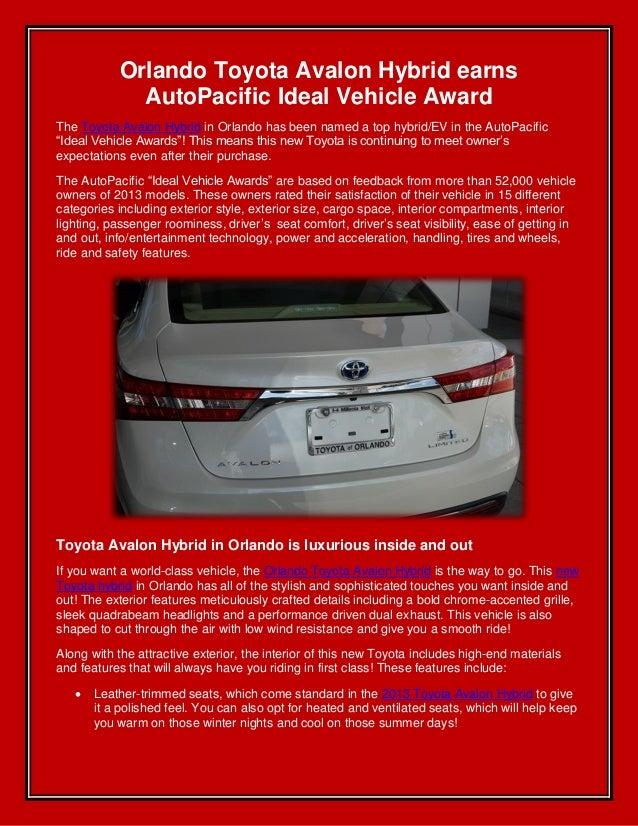 Orlando Toyota Avalon hybrid earns AutoPacific Ideal Vehicle Award!