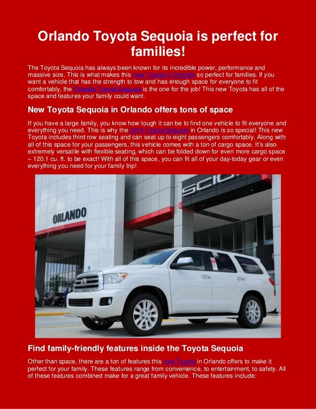 Orlando Toyota Sequoia is perfect for families! The Toyota Sequoia has always been known for its incredible power, perform...