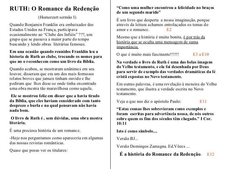 """"""" O Romance da Redenção""""  Parte I A História de RUTE Adaptação Prof. Homerzatt O Romance da Redenção - Parte I Mesmo que a..."""