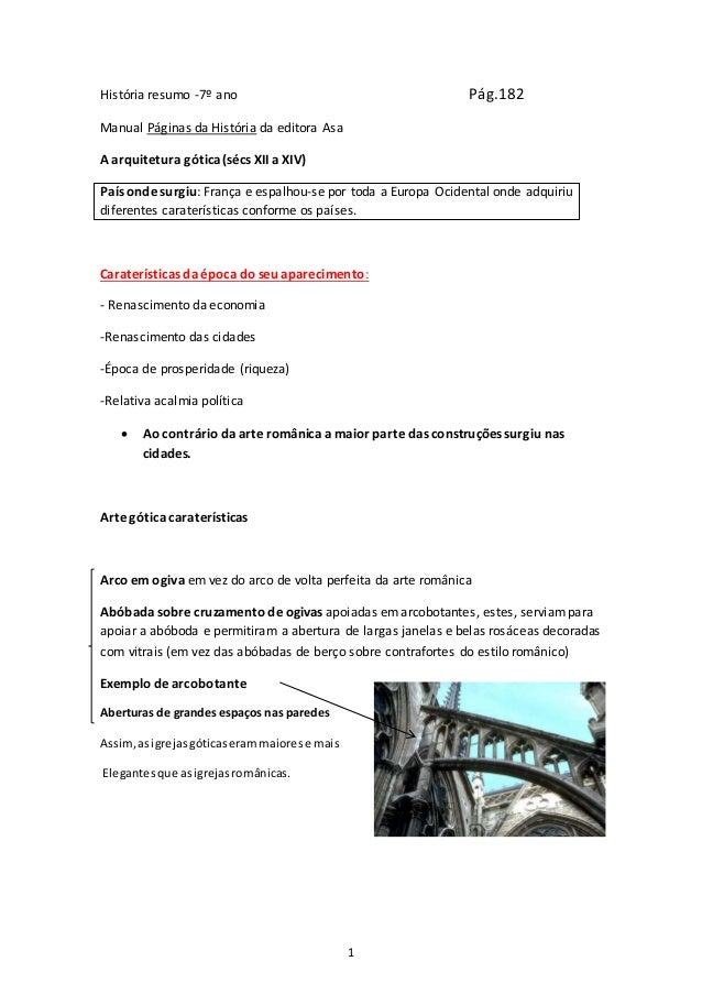1 História resumo -7º ano Pág.182 Manual Páginas da História da editora Asa A arquitetura gótica (sécs XII a XIV) País ond...