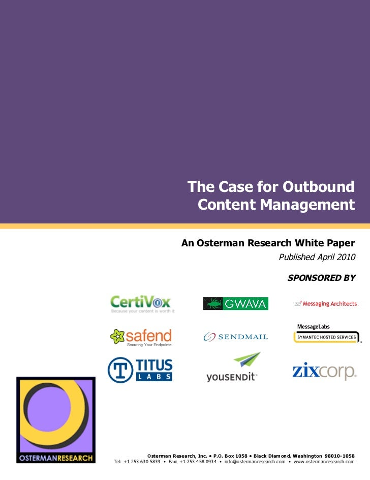 The Case for Outbound                                                          Content Management by                      ...