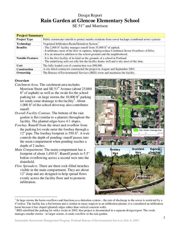 Design Report                       Rain Garden at Glencoe Elementary School                                              ...