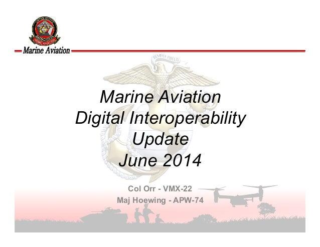 UNCLASSIFIED Marine Aviation Digital Interoperability Update June 2014 Col Orr - VMX-22 Maj Hoewing - APW-74