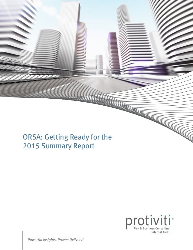 ORSA: Getting Ready for the 2015 Summary Report