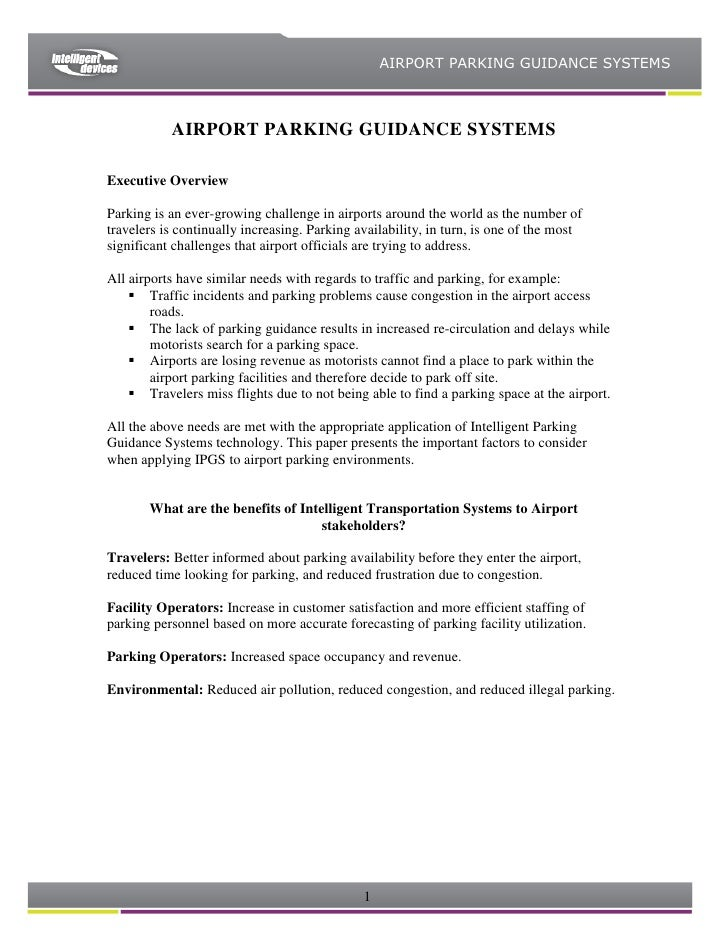 AIRPORT PARKING GUIDANCE SYSTEMS               AIRPORT PARKING GUIDANCE SYSTEMS  Executive Overview  Parking is an ever-gr...