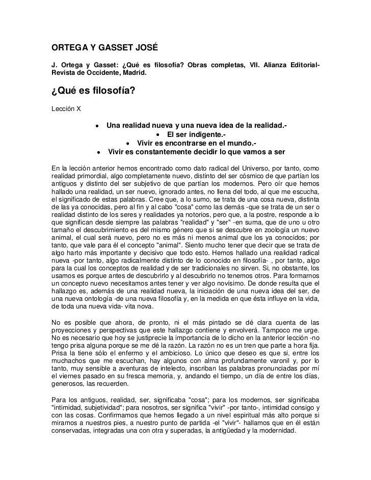 ORTEGA Y GASSET JOSÉJ. Ortega y Gasset: ¿Qué es filosofía? Obras completas, VII. Alianza Editorial-Revista de Occidente, M...