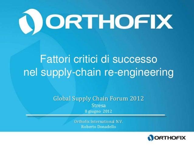 Fattori critici di successonel supply-chain re-engineering      Global Supply Chain Forum 2012                     Stresa ...