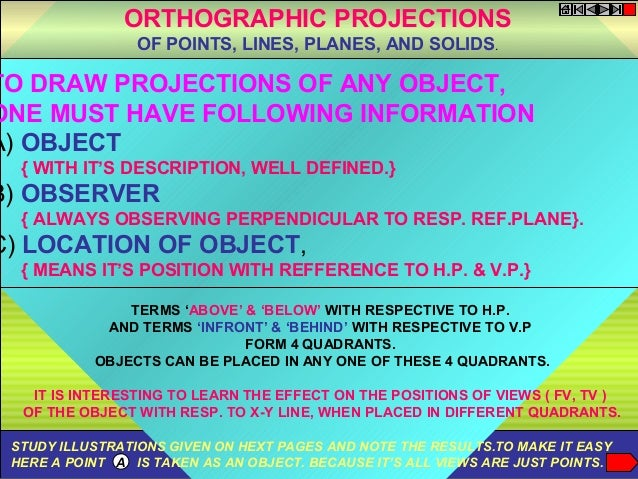 TO DRAW PROJECTIONS OF ANY OBJECT, ONE MUST HAVE FOLLOWING INFORMATION A) OBJECT { WITH IT'S DESCRIPTION, WELL DEFINED.} B...