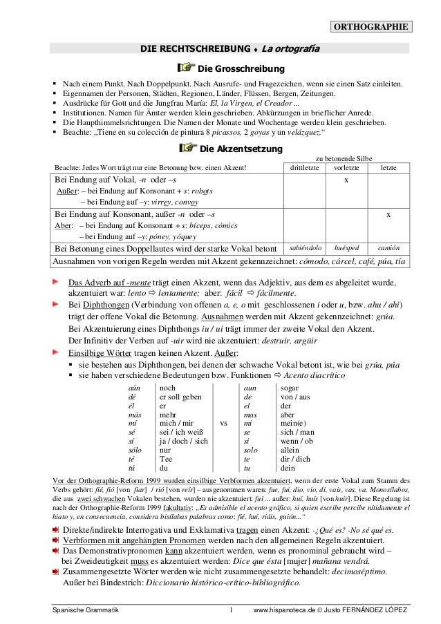 ORTHOGRAPHIE Spanische Grammatik www.hispanoteca.de © Justo FERNÁNDEZ LÓPEZ1 DIE RECHTSCHREIBUNG ♦ La ortografía Die Gross...