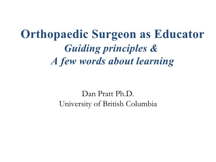 Orthopaedic Surgeon As Educator