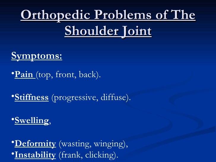 Orthopedic Problems of The Shoulder Joint <ul><li>Symptoms:   </li></ul><ul><li>Pain   (top, front, back). </li></ul><ul><...
