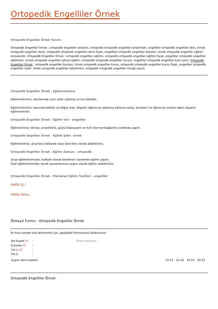Ortopedik Engelliler ÖrnekOrtopedik Engelliler Örnek TanımıOrtopedik Engelliler Örnek : ortopedik engelliler anlatımı, ort...