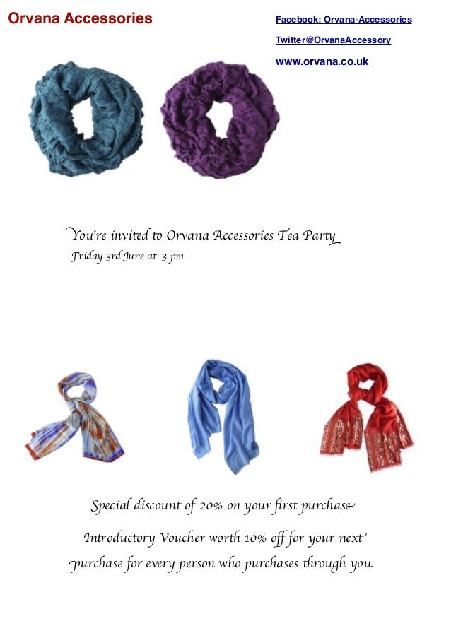 Orvana Accessories You're invited to Orvana Accessories Tea Party Friday 3rd June at 3 pm Facebook: Orvana-Accessories Twi...