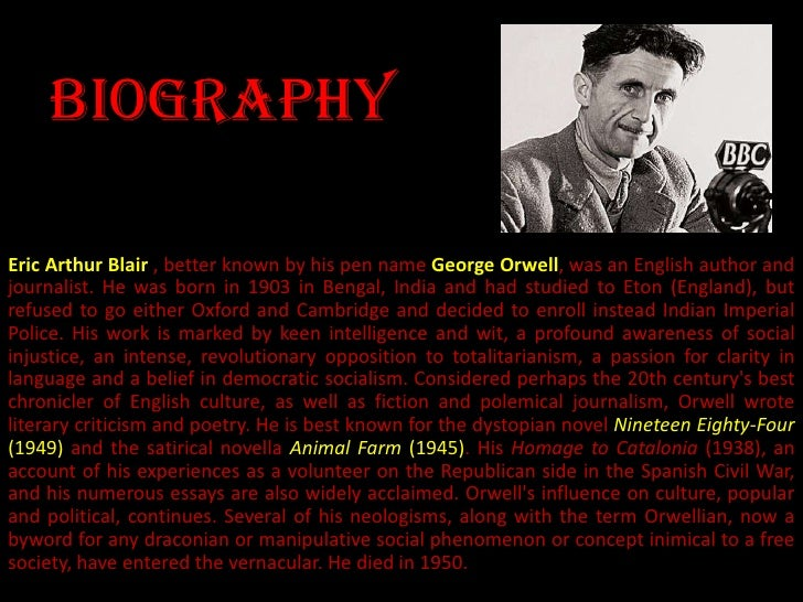 """extended essay george orwell Animal farm extended essay  animal farm essay victoria watt george orwell's classic novel """"animal farm"""" is an allegory, based loosely on the events of."""