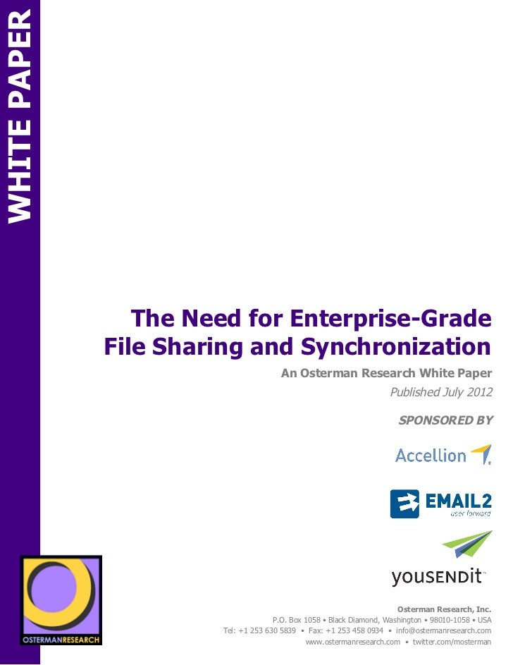 WHITE PAPER                       The Need for Enterprise-Grade                    File Sharing and SynchronizationON     ...