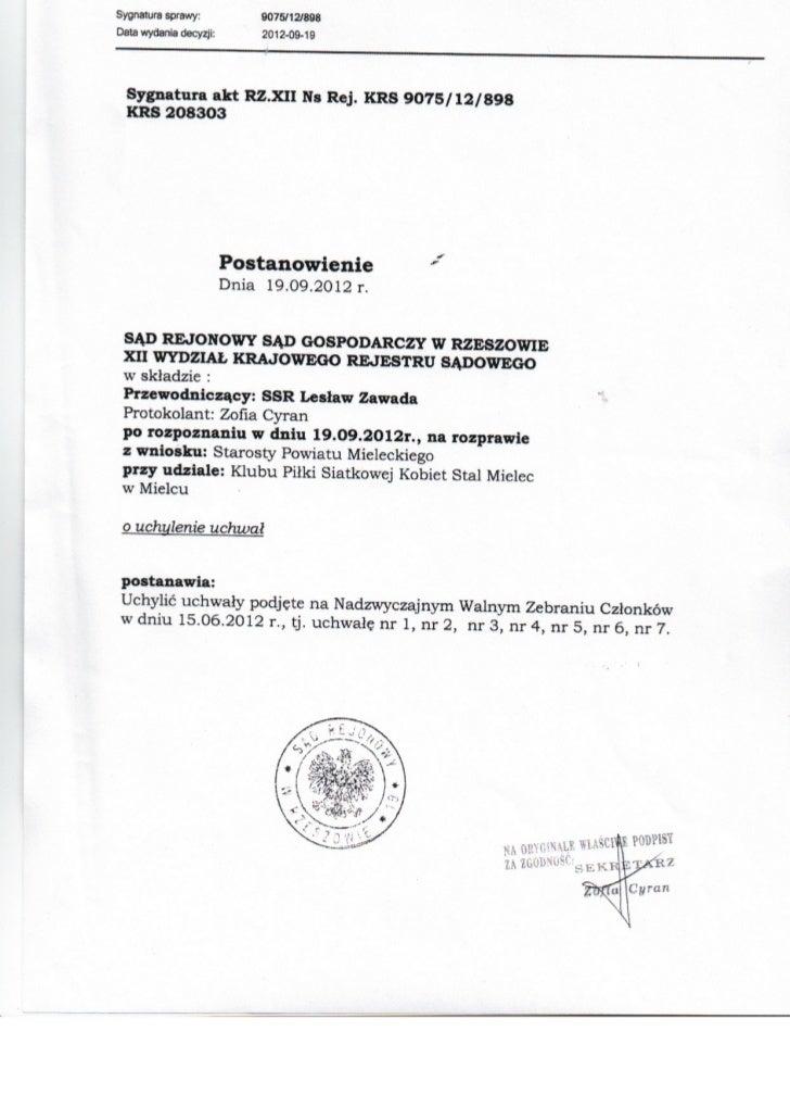 Orzeczenie Sądu Okręgowego - Wydział Gospodarczy KRS w sprawie KPSK Stal Mielec