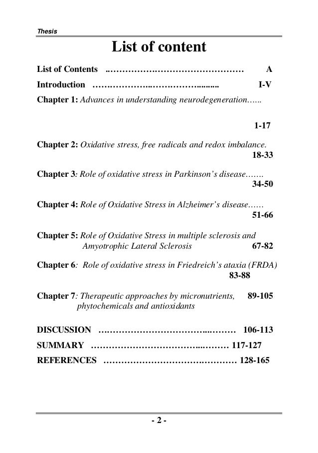 Oxidative stress phd thesis