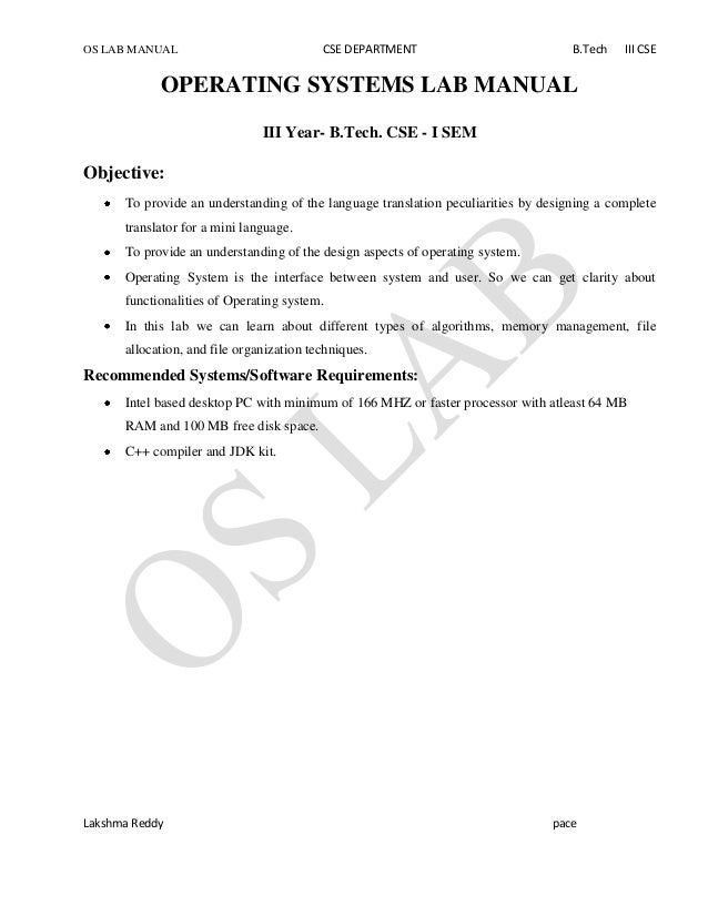 OS LAB MANUAL CSE DEPARTMENT B.Tech III CSE Lakshma Reddy pace OPERATING SYSTEMS LAB MANUAL III Year- B.Tech. CSE - I SEM ...