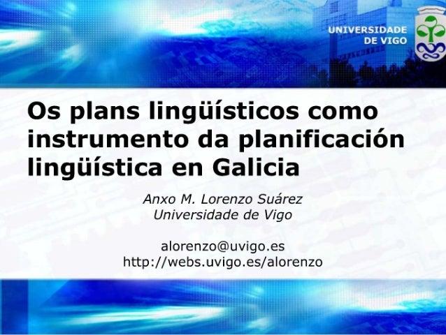 Os plans lingüísticos como instrumentos da planificación lingüísitica