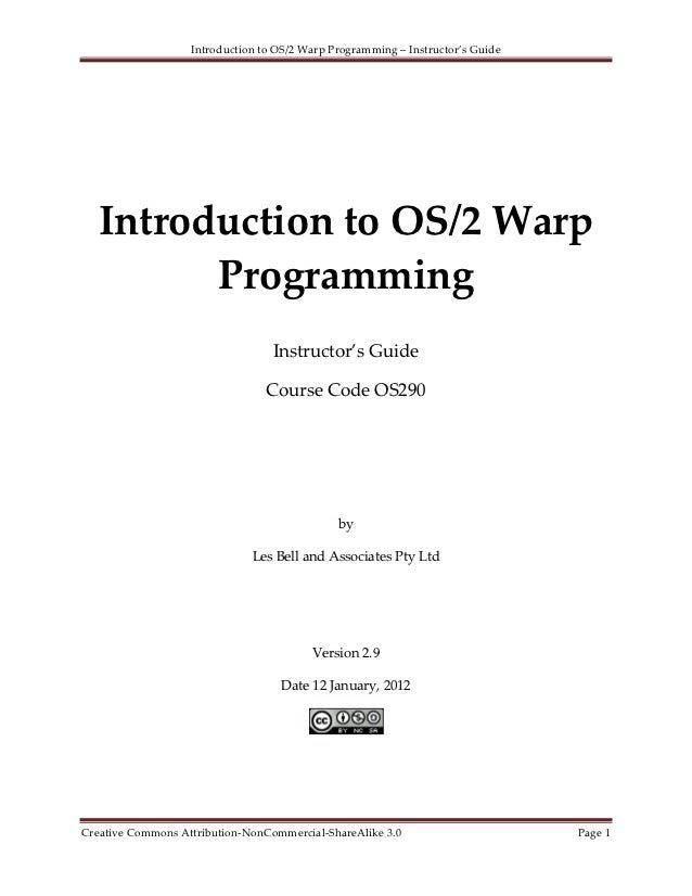 OS290 - Introduction to OS/2 Warp Programming - Instructors Guide