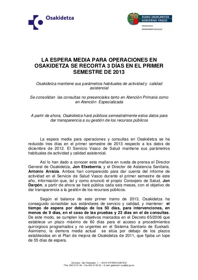 Osakidetza: balance y listas de espera 2013