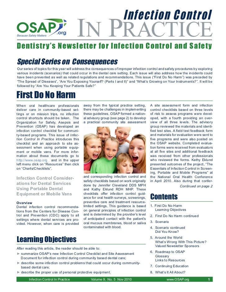 Infection Control                                        IN PRACTICEDentistry's Newsletter for Infection Control and Safet...