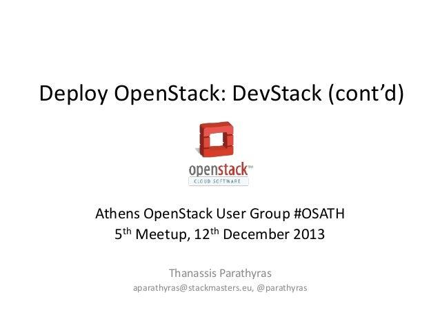 #OSATH Deploy OpenStack: DevStack (cont'd)