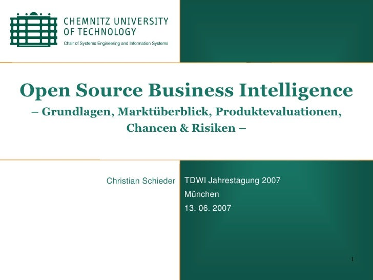 Open Source Business Intelligence - TDWI 2007