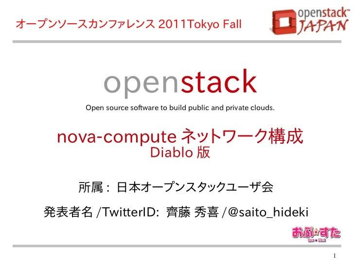 オープンソースカンファレンス 2011Tokyo Fall             openstack        Open source software to build public and private clouds.     no...