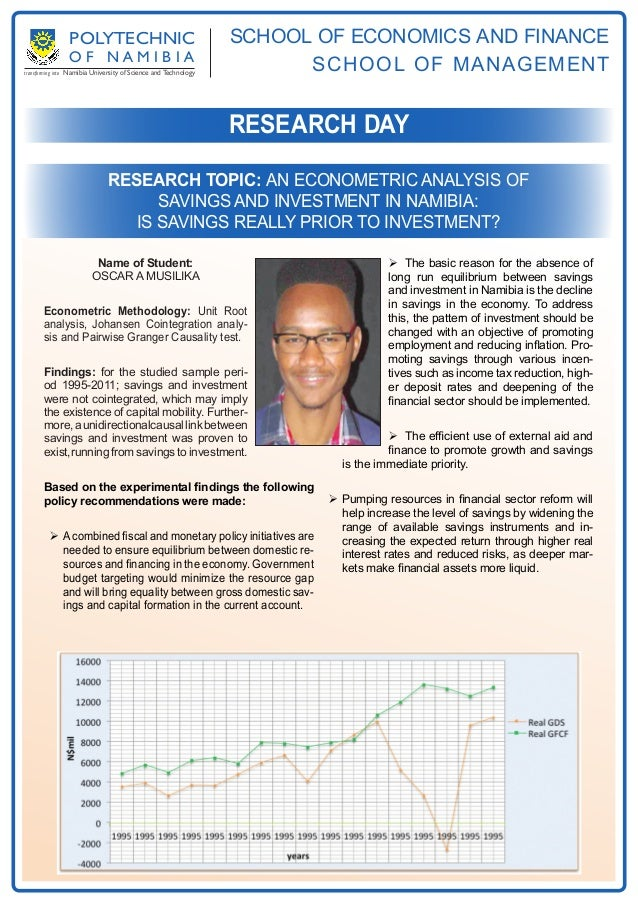An econometric analysis of savings and investment in Namibia: is savings really prior to investment? By Oscar Musilika