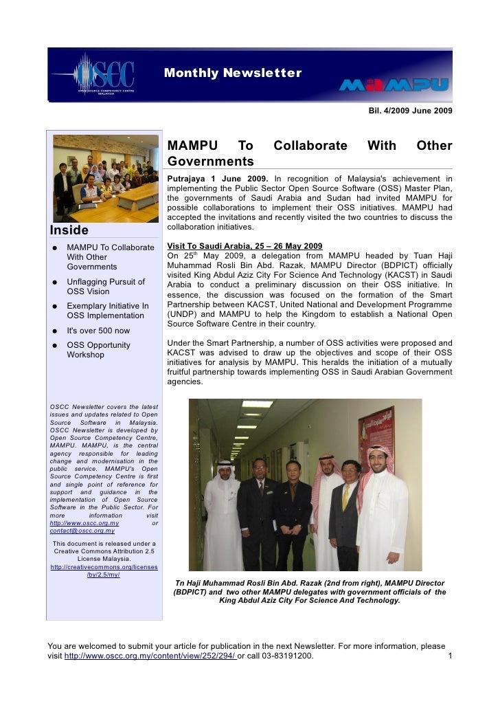 Monthly Newsletter                            OSCC Quarterly Newsletter                                                   ...