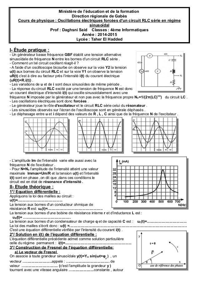 Ministère de l'éducation et de la formation Direction régionale de Gabès Cours de physique : Oscillations électriques forc...