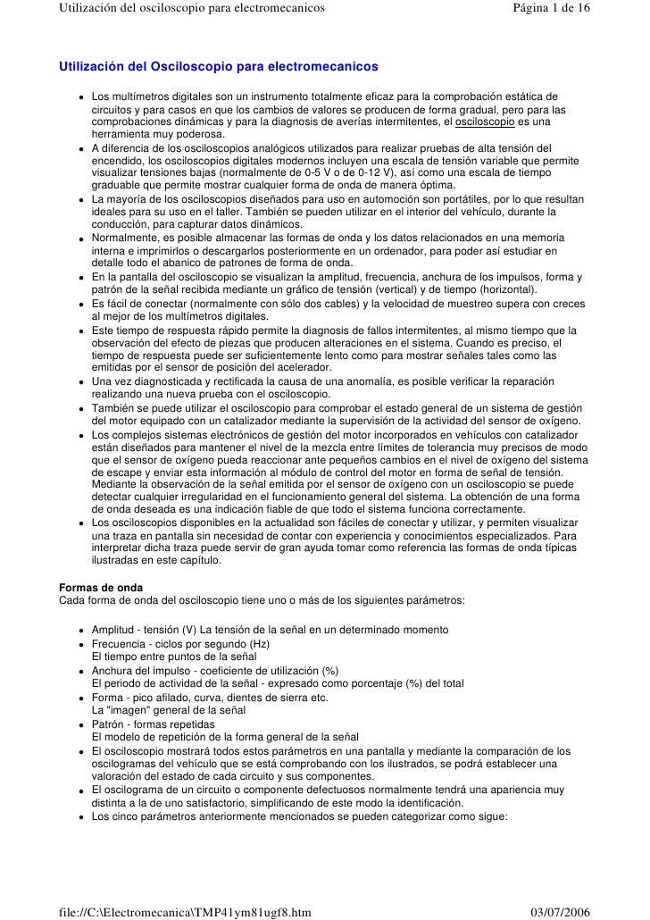 Utilización del osciloscopio para electromecanicos                                            Página 1 de 16Utilización de...