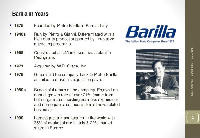 barilla spa case study 2 essay Barilla spa, the world's biggest pasta manufacturer, has continuously  experienced problems with increased costs and inefficiencies in their operation.
