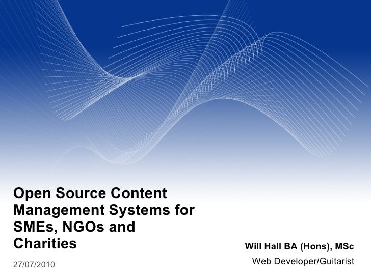 Open Source Content Management Systems for Small and Medium Businesses, Charities and Non Governmental Organisation
