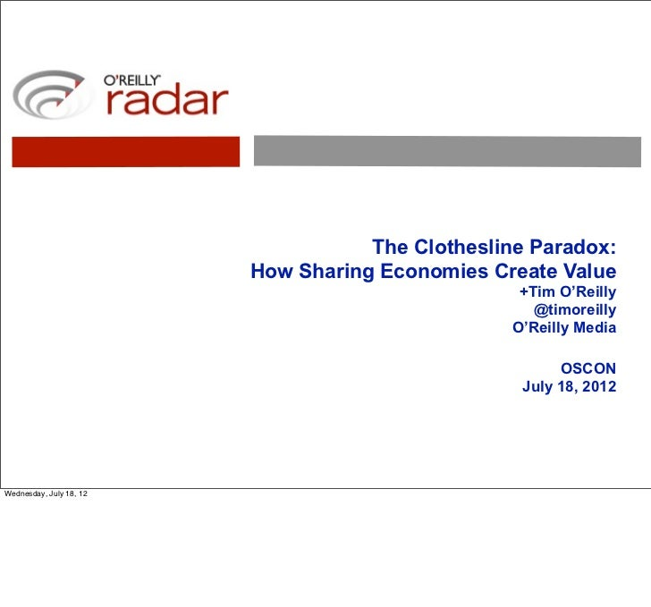 The Clothesline Paradox:                         How Sharing Economies Create Value                                       ...