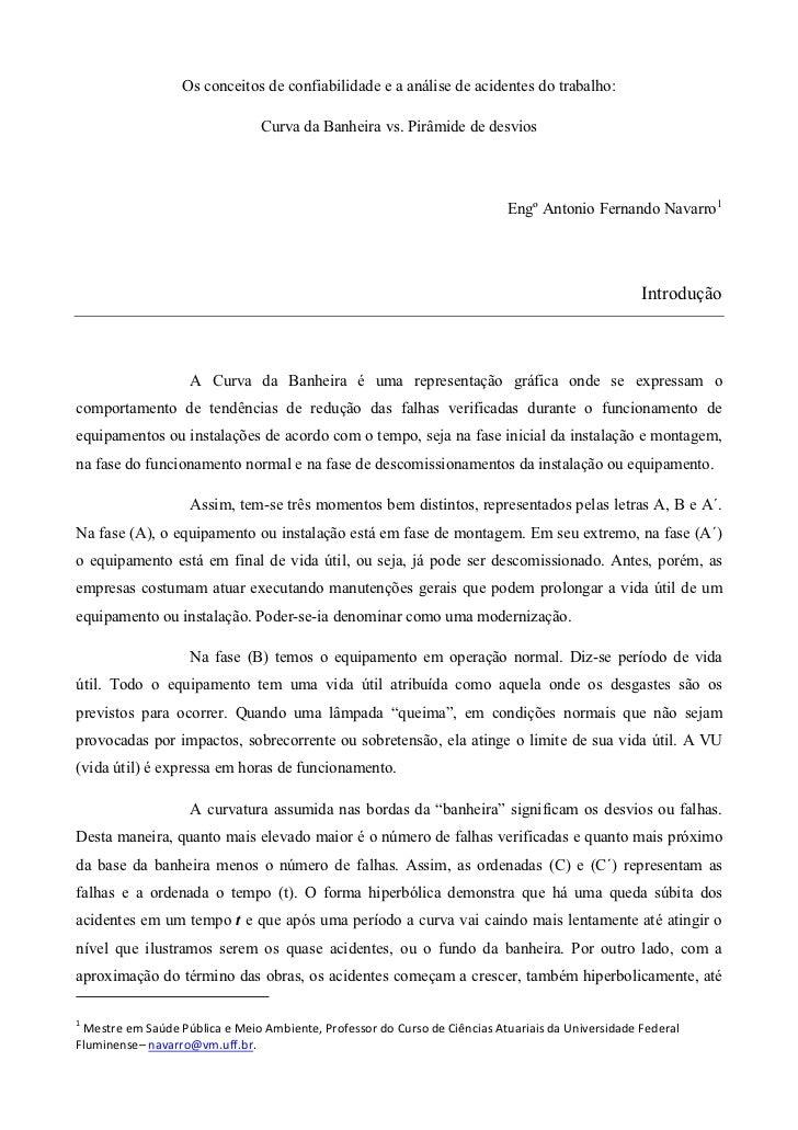 Os conceitos de confiabilidade e a análise de acidentes do trabalho:                                Curva da Banheira vs. ...