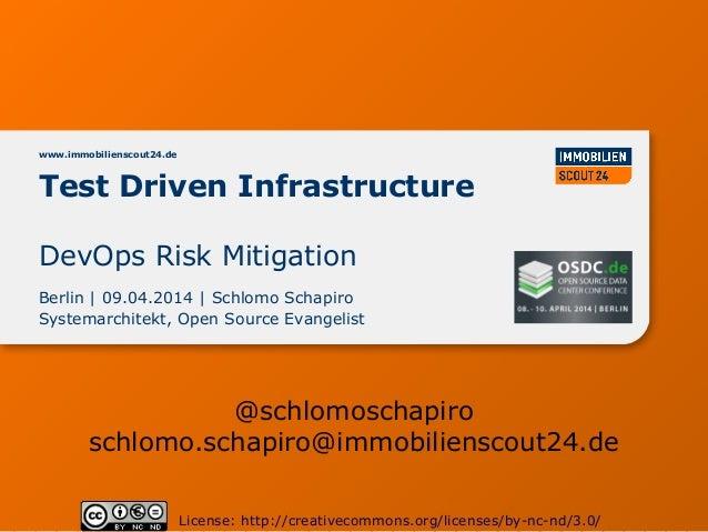 Test Driven Infrastructure www.immobilienscout24.de Berlin | 09.04.2014 | Schlomo Schapiro Systemarchitekt, Open Source Ev...