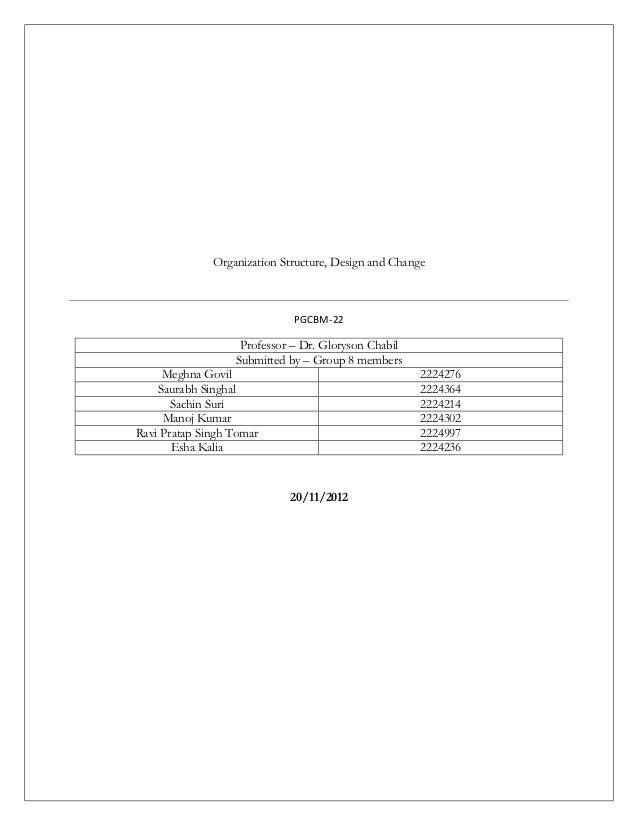 Organization Structure, Design and Change                             PGCBM-22                   Professor – Dr. Gloryson ...