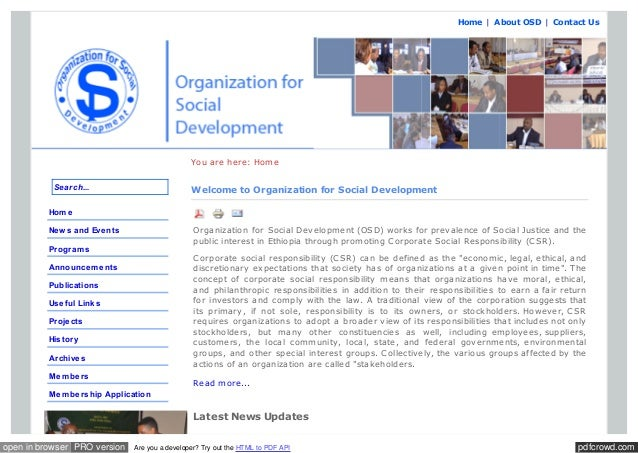 Home | A bout OSD | Contact Us  You are here: Home Search...  Welcome to Organization for Social Development  Hom e Organi...