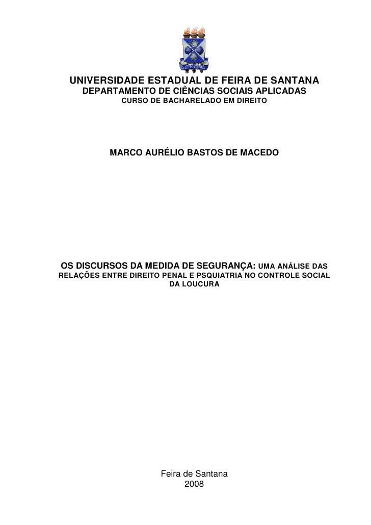 UNIVERSIDADE ESTADUAL DE FEIRA DE SANTANA     DEPARTAMENTO DE CIÊNCIAS SOCIAIS APLICADAS             CURSO DE BACHARELADO ...