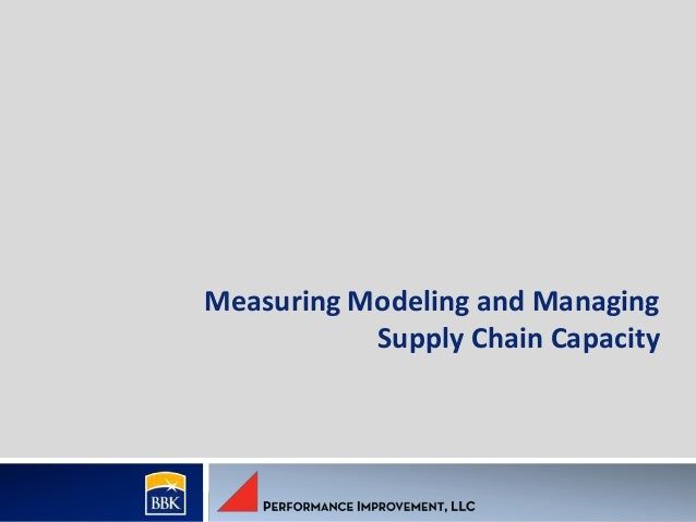 Measuring Modeling and Managing Supply Chain Capacity