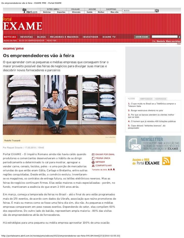 Os empreendedores vão à feira - EXAME PME - Portal EXAME                                              SITES ABRIL         ...