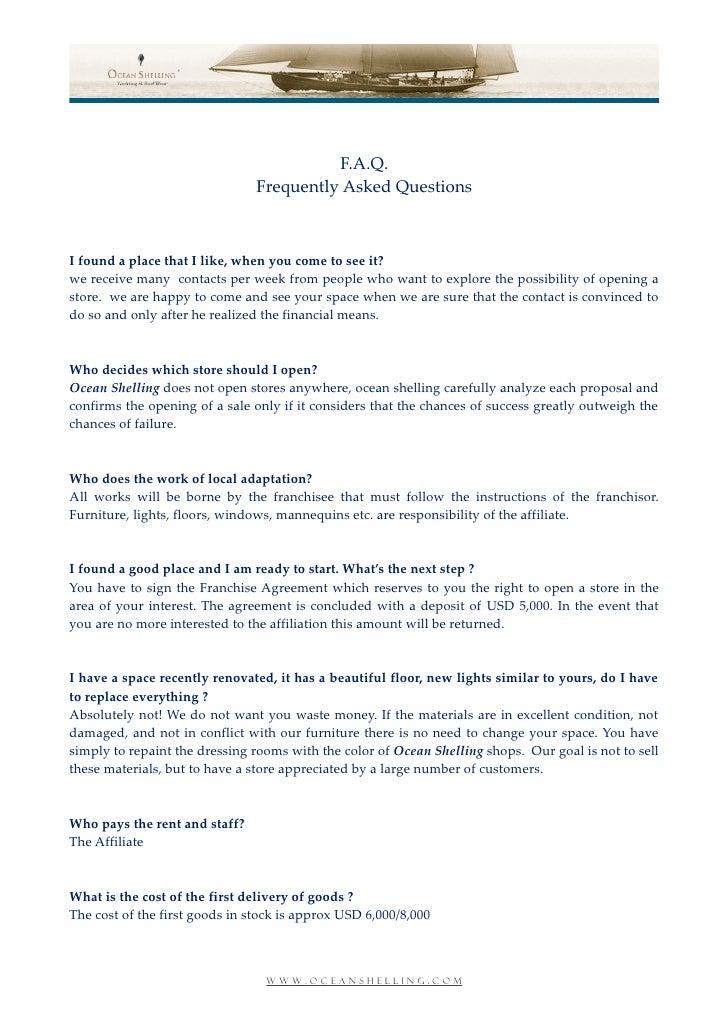 OS FRANCHISING FAQ