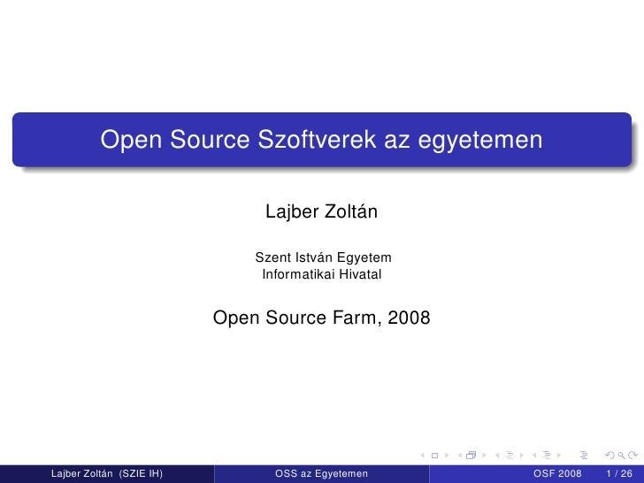 OSF.hu - FLOSS labor: grid és hallgatók – Lajber Zoltán, Szent István Egyetem, Gödöllő