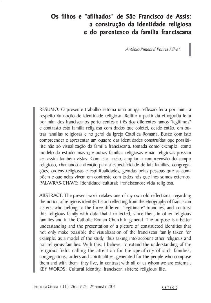 """Francisco           Os filhos e """"afilhados"""" de São Francisco de Assis:                         a construção da identidade ..."""