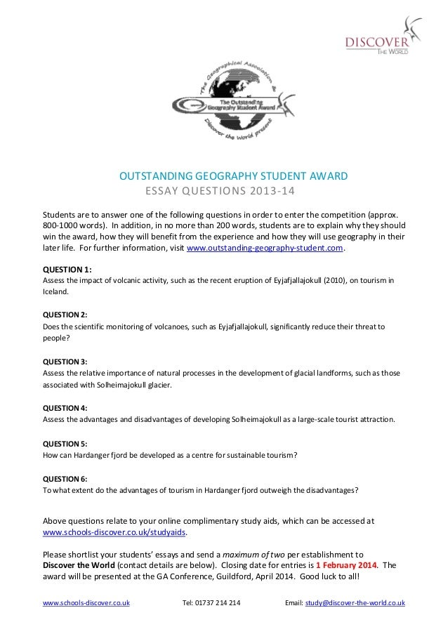www.schools-discover.co.uk Tel: 01737 214 214 Email: study@discover-the-world.co.uk OUTSTANDING GEOGRAPHY STUDENT AWARD ES...