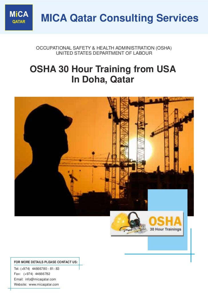 MICA Qatar Consulting Services              OCCUPATIONAL SAFETY & HEALTH ADMINISTRATION (OSHA)                    UNITED S...