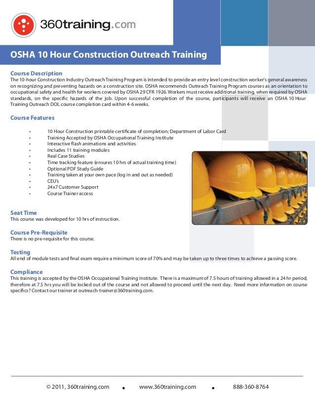 Osha 10 hour training