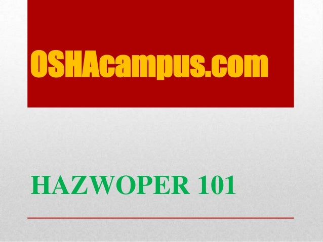 Oshacampus hazwoper training